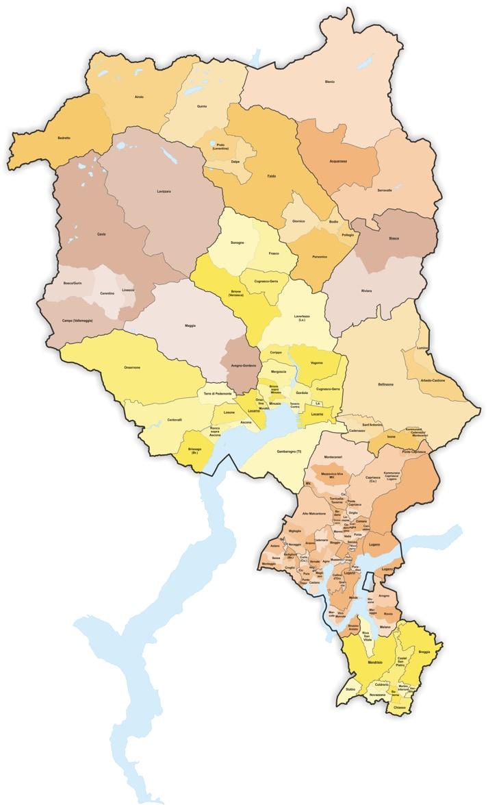 Cartina Svizzera Canton Ticino